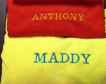 Large personalized custom embroidered beach or pool towel