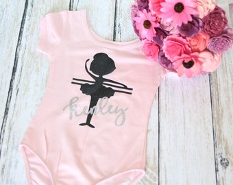 Personalized Ballet Bodysuit Leotard Ballerina at Bar with Childs Name