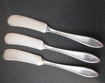 Vintage Universal Silver Overlaid Butter Knives, Set of Three