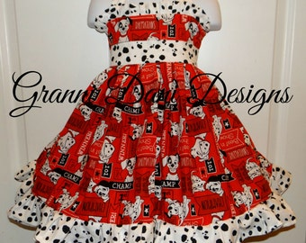 101 Dalmatian halter twirl dress ruffle baby toddler girl 6 12 18 24 months 2t 3t 4t 5t 6 7 8 disney red black white spots