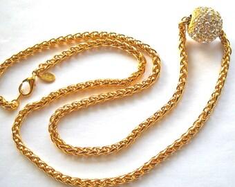 Designer JOAN RIVERS Bold Chain Link Necklace Removable Crystal Rhinestone Slide  1980s