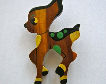 WOODEN DEER PIN Vintage  brightly hand enameled  with celluloid C clasp closure  1940s