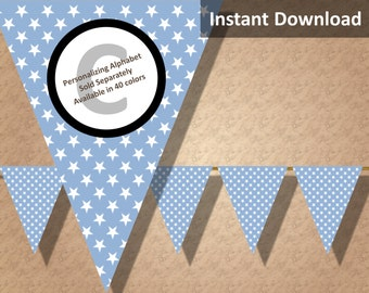 Baby Blue Star Bunting Pennant Banner Instant Download, Boy Baby Shower, Party Decorations