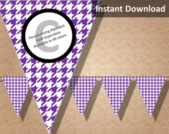 Purple Houndstooth Halloween Bunting Pennant Banner Instant Download, Party Decorations