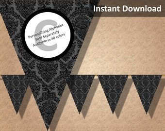Charcoal Damask Halloween Bunting Pennant Banner Instant Download, Party Decorations