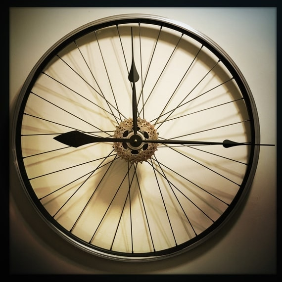 Items similar to bicycle wheel clock large wall clock for Bicycle wheel wall art