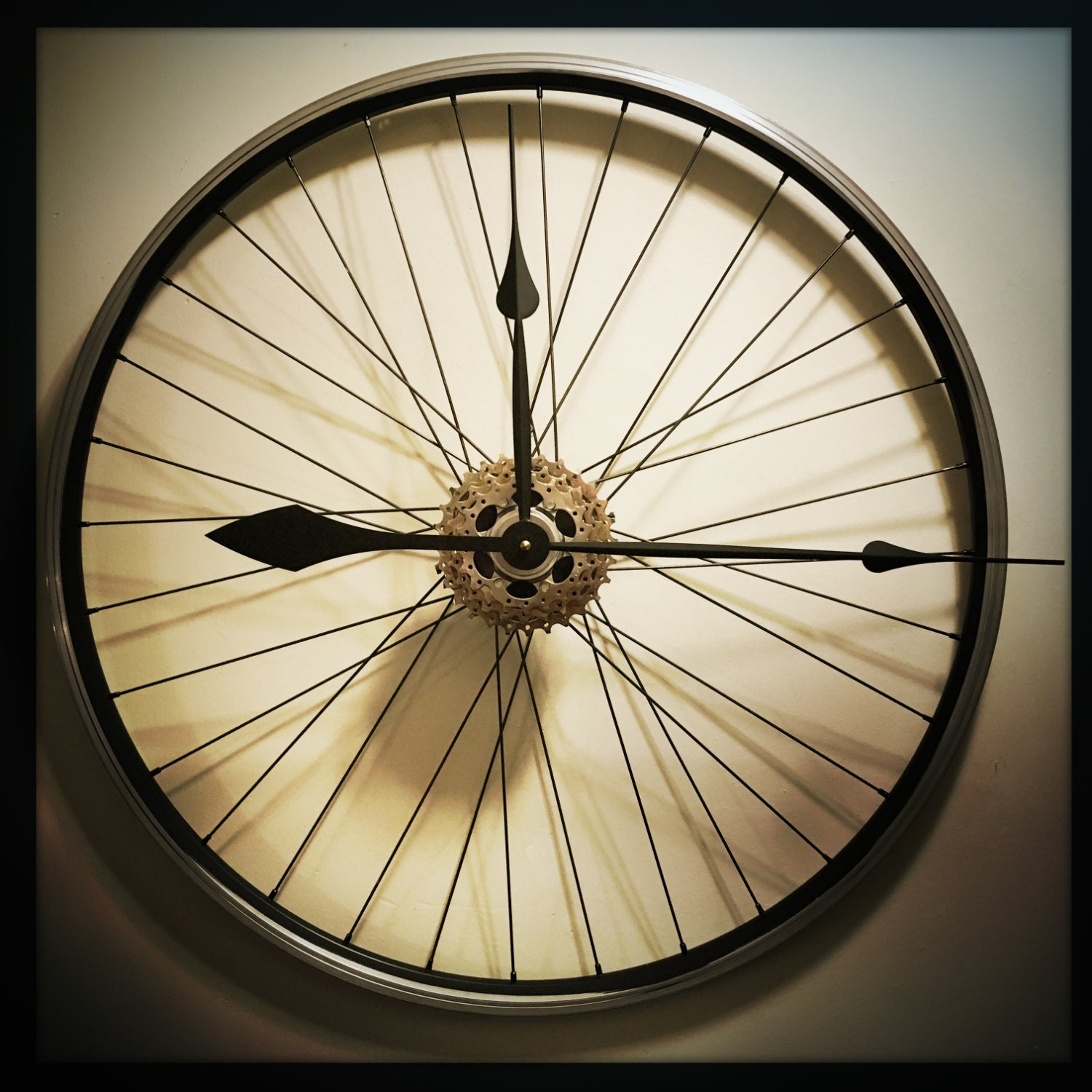 Bicycle Wheel Clock Large Wall Clock Steam by DreamGreatDreams