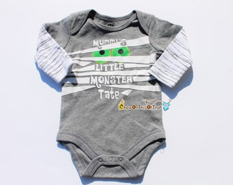 Baby's First Halloween Mummy Little Monster Statement Onesie Costume, Personalized Baby Name Bodysuit, Long Sleeved Tee Shirt, T-Shirt, Top