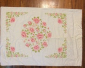 Rose pillowcase shabby chic french country decor super soft cotton muslin vintage bedding