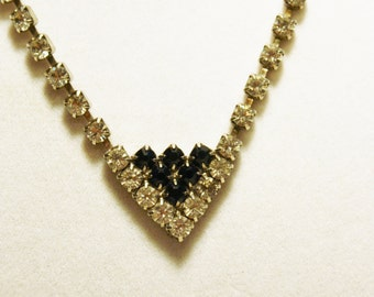 Vintage Clear Rhinestone Necklace Black Rhinestone Pendant Bridal Evening Jewelry Retro Mod