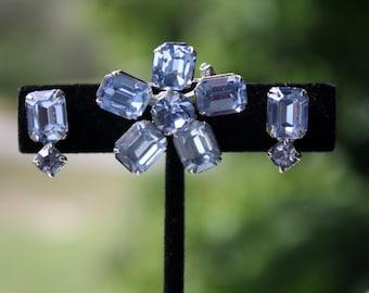 Weiss Blue Rhinestone Earrings Brooch Bridal Jewelry Something Blue Demi Parure Emerald Cut Brooch Gorgeous Classic Screwback
