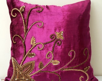 Plum Pillow Cover Rich Velvet Pillow Purple Pink Throw Pillow Beaded Pillow Embroidered Decorative Pillow Cover Cushion Cover Gold Beads