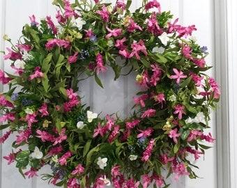 Summer wreath, summer door wreath, front door wreath, spring door wreath, door wreath, floral wreath, outdoor wreath, housewarming gift
