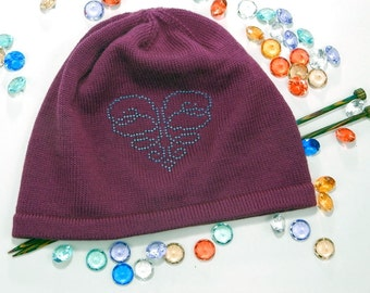 Knit beanie - marsala hat - spring hat - slouchy beanie - gift for women - beaded hat - embroidered hat - purple beanie - bad hair day hat