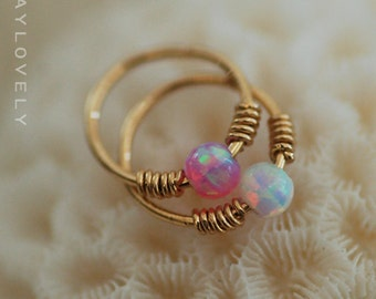 Opal cartilage earring, helix earring, tragus earring, Small Opal cartliage Ring, blue opal tiny hoop nose, Extra Small Gold Opal Nose Ring