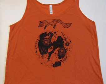Fox Tank Top, Graphic Top, Women's Tops, Art Shirt, Fox Gifts, Loose Tank Top, Coral Top, Moon Top, Art Tank Top, Illustrated Shirt, Fox Art