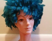 Vintage Deco Burlesque Feather Wig Turquoise Costume Parade Performance