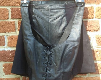 Vintage 80s 90s Black Wilson's Leather Vintage Outfit // Crop Top and Hot Pants Shorts Biker Babe S