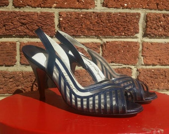 Vintage 40s 50s Navy Clear Pinup Kitten Pumps Stanley Philipson Heels 7 AA