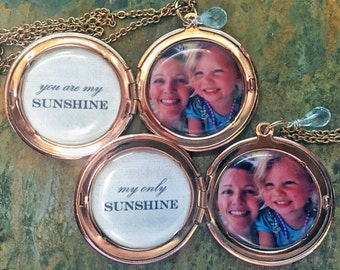 You Are My Sunshine Custom Photo Locket SET OF TWO - Mother Daughter Jewelry, Best Friend Jewelry, Sisters Jewelry