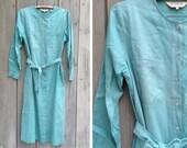 Vintage dress   LL Bean 90s natural raw silk button up long sleeved shirt dress