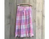 Vintage skirt | La Farge pastel madras plaid cotton full skirt