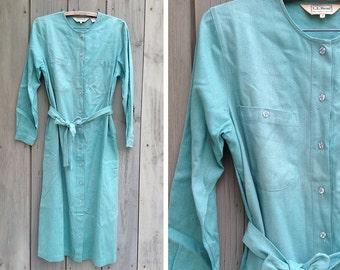 Vintage dress | LL Bean 90s natural raw silk button up long sleeved shirt dress