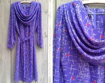 Vintage dress | Purple shift dress by Mynette with dramatic draped neckline
