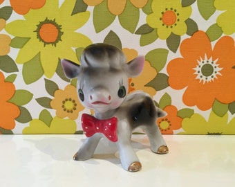 Vintage China Cow Spotty Bow Tie Kitsch Cute Farm