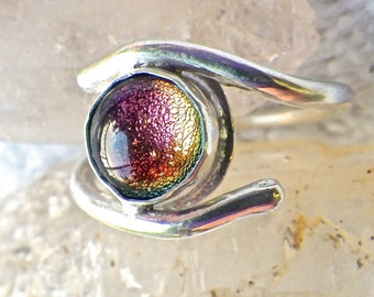 Pink Dichroic Sterling Silver Ring Size 6 1/2