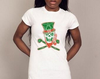 IRISH SKULL and BONES T-shirt ireland pirate Mens and Ladies Sizes