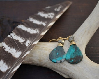 Turquoise Pyrite Earring