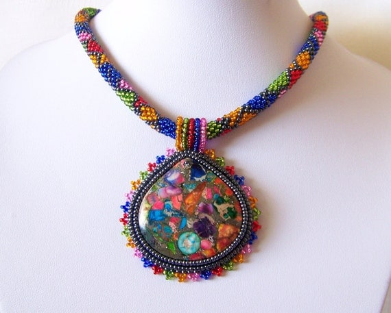 Beadwork Bead Embroidery Pendant Necklace with Rainbow Sea Jasper and Pyrite - SUMMER JOY - Summer collection - Colorful necklace