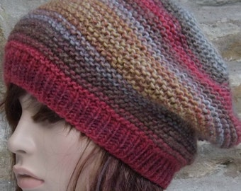 Hand Knit Merino Wool Hat in Pinks/Greys/Browns/Blues