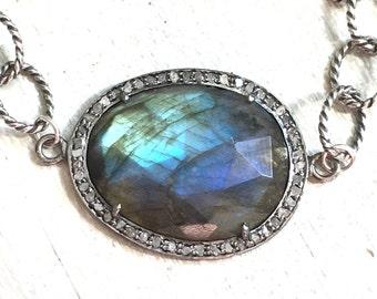 Diamond Labradorite Sterling Silver Bracelet