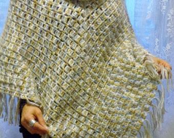 Crochet Poncho / Turtleneck Poncho with Fringes / Handmade Poncho / Handmade Wrap / Cape  For Woman / Warm Poncho
