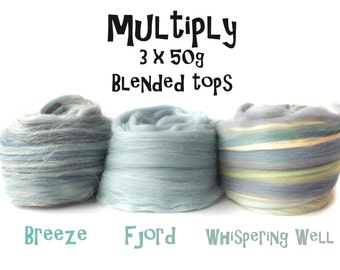 Blended tops selection - 3ply - 3 x 50g - 150g - Breeze - Fjord - Whispering Well - MULTIPLY