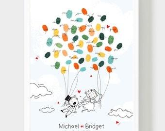 Groom & Bride Illustration Guestbook, Original Wedding Guestbook, Cute Wedding book, Thumbprint Baloon, Wedding Fingerprints Guestbook, PDF
