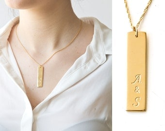 Unique Nameplate, medium size tag with Initials, Personalized Vertical Bar Necklace, Simple Initial Tag Necklace, Gold Fill, Sterling Silver