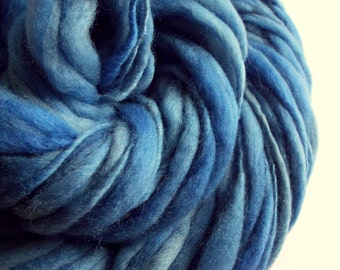 Blue thick and thin yarn, chunky merino knitting wool, mid to light denim blues big knitting wool