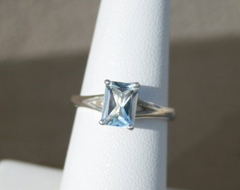 Emerald Cut Sky Blue Topaz Ring Solitaire Engagement Ring Promise Ring Size 7