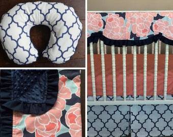 Swatches-Peyton's Navy, Aqua and Coral Peony and Lattice Crib Bedding Set, Modern, Girl, Shower Gift, Lavender Linens