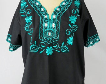 Women's Black 80s Floral Embroidered Tunic Size L