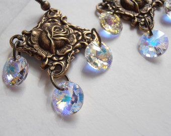 Ornate Art Nouveau Antique Brass finish chandelier earrings with Swarovski crystals