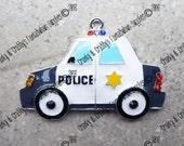 Police Car Pendant - Original design - Enamel with Rhinestones -  Chunky Necklaces - 35mm x 50mm    Enamel On Silver- Thin Blue Line