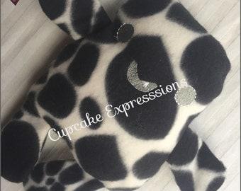 Handmade Marshmallow Monster - Black Polka Dot - Cuddle, Stuffie, Softie, Plush, Chubby, Chunky