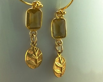 Fern XVI: Faceted Citrine and Golden Vermeil Fern Earrings
