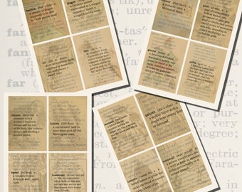Fantasy Defined, Dictionary Definition Printables, POSTCARD SIZE, (3.5 x 5 Inch or 12.7 x 8.8 cm), 16 Total