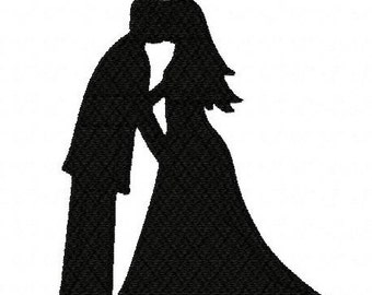 Bride and groom silhouette kissing wedding 3 inch machine embroidery design instant download