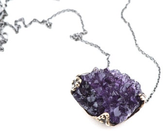 Amethyst necklace with sterling silver chain - one of a kind
